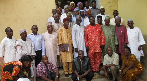 Dr Joseph Thot Dogo (fourth from right) and members of Kaduna SMOH
